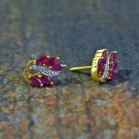 1.50 Ct Marquise Cut Ruby & Diamond Stud Earrings Solid 14K Yellow Gold Over