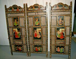 VTG INDIA PANEL HAND PAINTED Carved WOOD FOLDING SCREEN Room Divider Persian