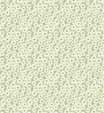 WHITE DAISIES ON GREEN BY LEWIS & IRENE - COTTON FABRIC FQ'S