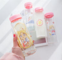Cute Sailor Moon Glass Water Bottle Girls Creative Pink Drinking Student Cup Hot