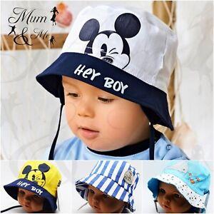 Baby Boys Sun Hat Summer Beach Bucket Cap Newborn Toddler Kids Tie Up Cotton