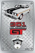 Pop A Top - Wall Mount Bottle Opener Metal Sign - Ford XY GT Ultra White