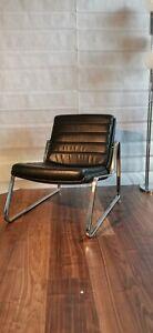 Vintage Ledersessel Lounge Sessel 60er 70er im Stil des Barcelona Chair -Drabert