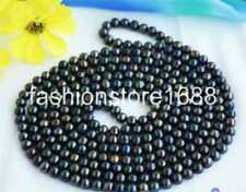"stunning 6-7mm Tahitian multicolor black pearl necklace 36"" AAA"