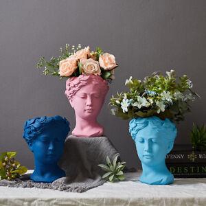 Greek Goddess Venus Head Statue Flower Pot Cement  Vase Home Art Decor