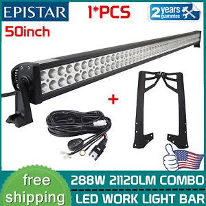For Jeep TJ 1997-2006 50inch 288W Offroad LED Light Bar+Mount Bracket+Wiring Kit