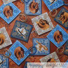 BonEful FABRIC FQ Cotton Quilt Brown Blue Cowboy Western Hat Bandanna Paisley US