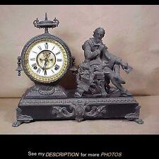 Antique Ansonia Statue Clock Macbeth Model Open Escapement