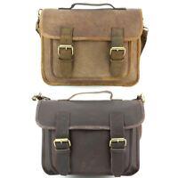 Leather Satchel Bag Shoulder Handbag Ladies Men BROWN Real Messenger Laptop