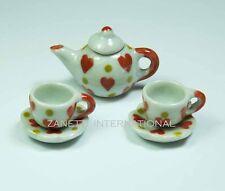5-Piece Dollhouse Miniature Ceramic Tea Set * Doll Mini Cup Teapot Saucers