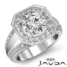 Splendid Round Diamond Engagement Halo Pave Ring GIA F VVS2 Platinum 950 1.66ct