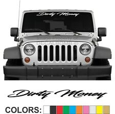 "Dirty Money ""Script"" Windshield Decal Sticker Vinyl  Banner Diesel Turbo UTV ATV"