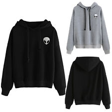 Women Girls Long Sleeve Sporty Alien Print Hoodie Loose Tops Blouse Hooded Shirt