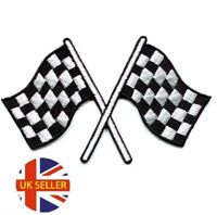 Chequered Flag Racing Embroidered Logo Patch Badge Iron On / Sew On Fancy Dress