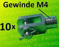 10 x Gabelkopf 4x8 M4 mit Splintbolzen DIN71751 verzinkt - Gabelgelenk