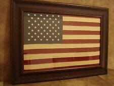 LARGE US FLAG FRAMED - EMBROIDERED CLOTH FLAG IN RUSTIC FRAME