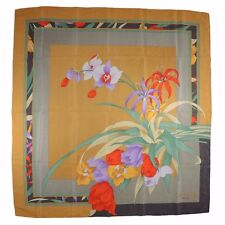 """LEONARD Paris 100% Silk Scarf Tulips Orchids 33"""" x 33"""" Gold with Colors NWOT"""