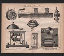 Lithografie 1875: Elektrische Läutwerke und Uhren.