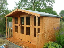 "10x8 +2ft porch (10x10) summer house 13mm t+g cladding 3""X2 frame 1""thick floor"