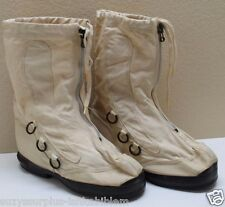 US White Canvas OverBoots w wool inserts n rubber bottoms size Large pair M2033
