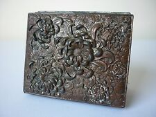 Japanese antimony box with high relief Chrysanthemum floral decoration