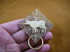 (E-489) Cow dairy bovine Eyeglass filigree brass pin pendant ID badge holder