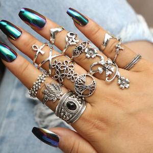 14pcs Boho Silver Ring Stack Plain Above Knuckle Midi Finger Rings Set Gift