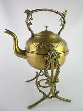 OLD ENGLAND BRASS bouillotte 1920s campaign hunting SPIRIT KETTLE WITH STAND