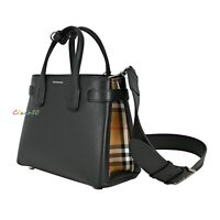 NWT Authentic Burberry Small Banner Leather/ Vintage Check Cross Body Bag