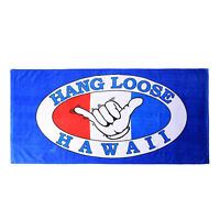 Hawaii Beach Towel 100% Cotton Large 60x30 Blue Hang Loose Aloha Surfer Y Sign