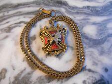 Old Vintage Antique Necklace Pendant Lion Crest Ornate Filigree Knights Columbus