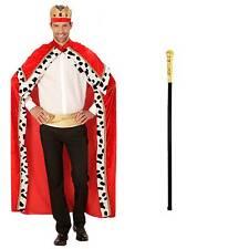 Kostüm König Robe Krone Regentenstab gold Gr. XL (54-58) Königsmantel Adel King