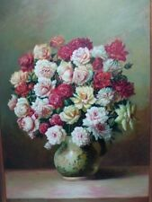 Original Vintage Pagliro Signed Still Life Flowers In a Vase Oil Canvas Painting