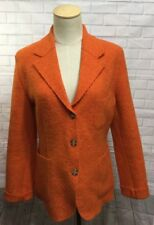 J Keydge French Designer Orange Boiled Wool Casual Blazer Jacket Size 2