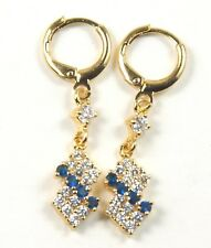 Women's 18 Carat Gold Plated Blue Zircon dangle Huggie Hoop Earrings