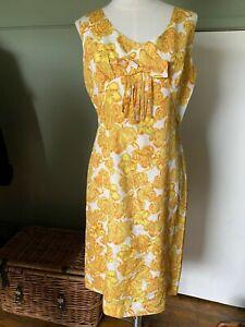 TRUE VINTAGE 1960'S SUMMER DRESS BOLD FLORAL PRINT WHITE GOLD SILK FEEL 10 12