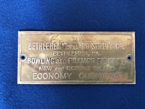 Old Brass Bethlehem Pa Billiard Supply Co Pool Table Sign Nameplate