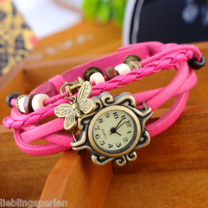 L/P:1 Damen Vintage Leder Armbanduhr Wickelarmband Schmetterling Watch Fuchsie