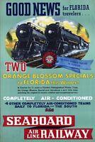 "Vintage Illustrated Travel Poster CANVAS PRINT USA Florida Train Rail 8""X 12"""