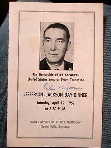 Tennessee Senator ESTES KEFAUVER signature 1952 event/dinner program Montana