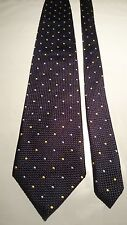 Anthony Squires Men's Vintage Silk Tie in Embossed Navy Blue with Dot Pattern