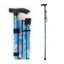 Walking Stick Adjustable Collapsible Folding Lightweight Cane Black Alumimium