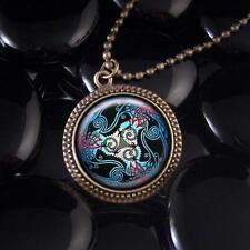 Celtic Raven Stained Glass Crow Design Antique Bronze Irish Pendant Necklace