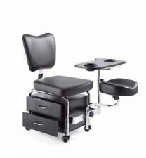 Beauty Spa Double Black Pedicure Manicure Chair & Table Station - STARTER KIT