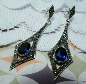 My S Collection 925 Sterling Silver, Marcasite & Dark Blue CZ Drop Earrings