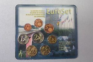 2002 LUSSEMBURGO SET COMPLETO FDC 8 MONETE EURO FOLDER 1° CONIO