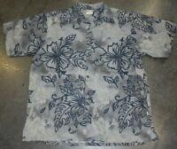 Go Barefoot Hawaiian Mens Button Down Shirt Gray Floral Size L EUC