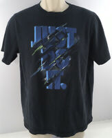 NIKE Black Just Do It Graphic Regular Fit T-Shirt Short Sleeve Men's L Sports