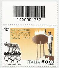 REPUBBLICA ITALIANA - 2010 Giochi Olimpici Roma 0,60 con codice a barre 1357