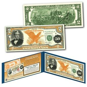 1882 Series Silas Wright $50 Gold Certificate designed on a Modern $2 Bill